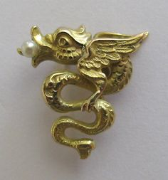 *SOLD* Laura's lifeintheknife on Ruby Lane: Antique Art Nouveau 14K Winged Dragon Stick Pin