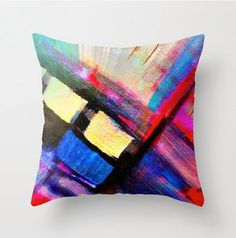 Abstract art pillow, yellow red decorative throw pillow cover, pillow Modern pillow cover - couch pillow - decorative pillow - indoor pillow