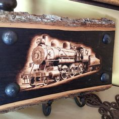 train decor original artwork woodburning on basswood for train collector steam engine
