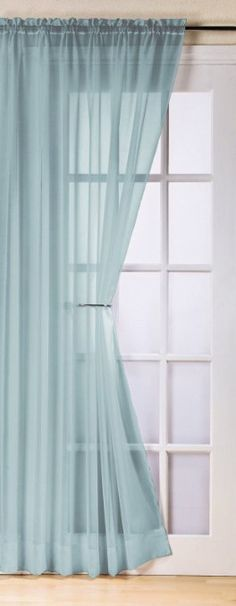 Plain duck egg blue voile net curtain panel 59x48 inches drop 150cm x 122cm approx plain slot top traditional sheer elegant door net curtain
