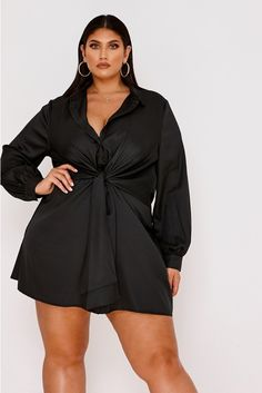 201bd140eb505 CURVE LATECIA BLACK TIE FRONT SHIRT DRESS