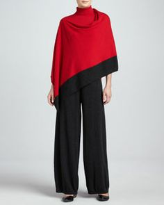 Joan Vass Silk-Cashmere Contrast-Trim Poncho, Turtleneck & Wide-Leg Pants.Look chic this new year in Joan Vass luxury apparel, available at Neiman Marcus!  JoanVassNY.com #JoanVass #NewYork #Fashion #Fashionista #NewYear #NewYears #2014 #ReadyToWear #Luxury #Apparel #NeimanMarcus #WomensClothing #WomensFashion #Clothing