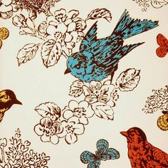 Blue Orange Yellow Bird Print Fabric from DuraleeFinds