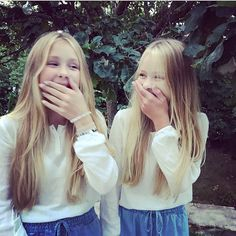 Us trying to take a serious picture  Hope you all have a lovely weekend #weekend #twins #sisters #smile #laughter #style #saturday #blonde #happyness #love