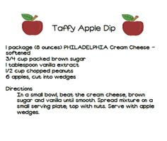 Apple dip recipe that would be great for a September faculty meeting is on this post.