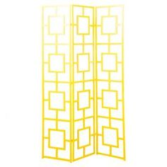 """Iron room divider with latticework panels and a yellow finish.  Product: Room dividerConstruction Material: IronColor: YellowDimensions: 70.5"""" H x 60"""" W x 24"""" D"""