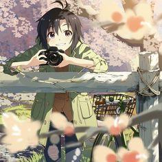 Anime girl smiling