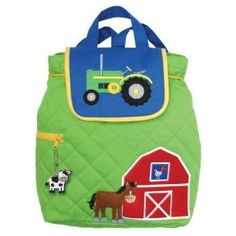 Durable quilted cotton backpack features adjustable cotton shoulder straps, cotton carrying handle, draw string cinch closure, magnetic button closure and side zipper pocket. Decorative applique coordinates with zipper pull. Machine Washable. 100% Cotton #backpack #stephenjoseph #boys #farm #backtoschool #bags #kids #children $32.95 http://www.thinkfasttoys.com/Stephen-Joseph-Boys-Quilted-Backpack/dp/B000UO7JNM