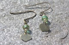 Dangling Earrings with Czech Glass and antiqued by LupineJewelry, $12.00