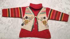Kishika Girl Size 12-24 M 2T Knit Sweater Dress Orange Embroidered Flower Tunic  | eBay