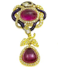 A mid 19th century gold, enamel, garnet and diamond corsage ornament and a pair of garnet and diamond earrings, circa 1850