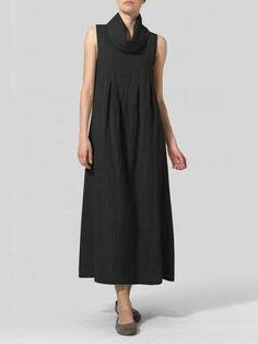 Abito vintage donna in cotone tinta unita senza maniche in tartan Collo c9871f277b6