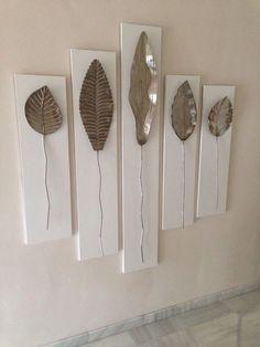 Composición. Asses Salon Leaf Wall Art, Diy Wall Art, Wall Decor, Home Crafts, Diy Home Decor, Tin Can Art, Decoration Plante, Modern Rustic Decor, Affordable Home Decor