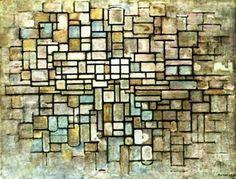 Piet Mondrian >> Composition en bleu, gris et rose