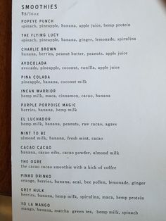 Menu from Smoothie Bar in Charlotte - try with Vitamix: