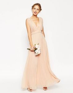 ASOS Wedding deep plunge super full pleated maxi dress found on Nudevotion a6f71d21e9