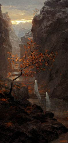 Tree Picture  (2d, illustration, tree, fantasy, landscape, ghosts)