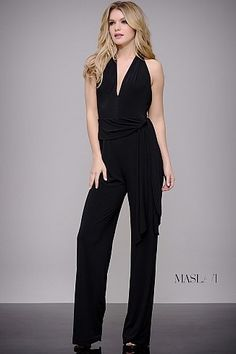 a7e117a64b9 Black Halter Top on Trend Jumpsuit by Jovani M51826