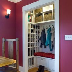 Coat or Mud room closet. Shoe storage solution? They sure fit a lot of functionality in that small space! Love it!