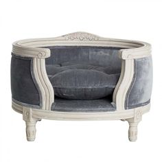 Lord Lou George Silver Grey Velvet - George silver grey velvet exclusive companion bed Louis XVI style with striking curved solid oak frame. - Fletcher Of London - Luxury Pet Products Cute Dog Beds, Pet Beds, Yorkshire Dog, Elevated Dog Bed, Designer Dog Beds, Dog Haircuts, Dog Furniture, Cat Light, Dog Accessories