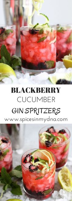 Blackberry Cucumber Gin Spritzers