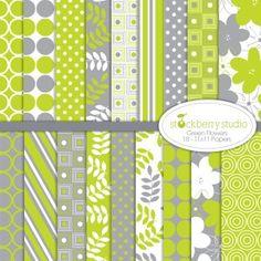 Stockberry Studios Green Flowers Web Pattern