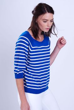 Mediterranean Blue Striped Jumper: A cheerful cropped knitted Breton top in this vibrant blue with white contrast stripe.