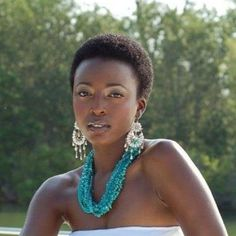 twa hairstyles for black women | Accessories and a little make up go perfect with this TWA.