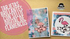 Tarjeta flamenco perlescente y con foil metalizado