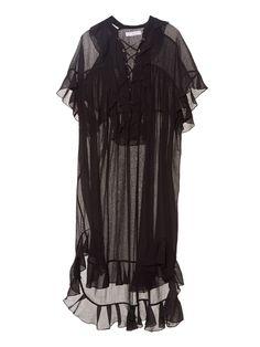 クロエ(CHLOE)ブラック膝丈ワンピース LACE-UP RUFFLED DRESS