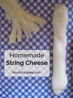 Homemade string cheese is a fun treat to send in your child's healthy school lunch! With this sneaky shortcut, you can make homemade string cheese at a fraction of the cost of the store-bought version (Home Made Cheese Sticks) Goat Milk Recipes, No Dairy Recipes, Cheese Recipes, Real Food Recipes, Cheese Snacks, Cheese Food, Cheese Plates, Fromage Vegan, Fromage Cheese