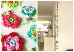 Super Cute!  Crocheted Flower Streamers!