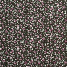 Evergreen/Dusty Rose Floral Slubbed Cotton Woven