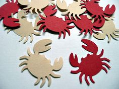 100 Crab Die Cuts, Beach Wedding Embellishments, Party Decoration Cutouts, Red and Beige Crab Confetti. $2.00, via Etsy.