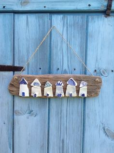 Handmade Nautical Driftwood & Sea Pottery Beach Hut Sign / Wall Hanging
