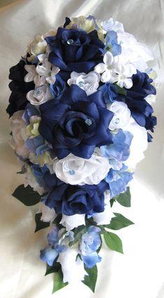 Wedding Bouquet Bridal Decoration Silk flower NAVY BLUE WHITE Periwinkle Cascade 17 pcs bridal arrangements package via Etsy