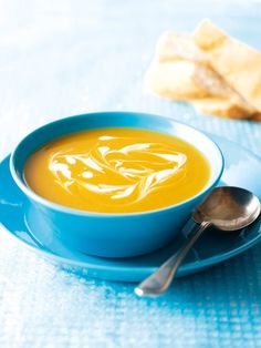 Butternut and Sweet Potato Soup  (Nigella)  ----- 350 grams diced butternut squash & sweet potato (from a packet) , 750 millilitres hot vegetable or chicken stock  , ¼ tspn ground cinnamon , ¼ tspn ground mace , good grinding pepper ,  4 tspns buttermilk  - - - Put diced butternut & sweet potato in saucepan with the hot chicken or veg stock & both spices. Bring to boil & simmer for 15 mins, or until the veg are tender. Add pepper to taste. Puree soup in a blender. Swirl with buttermilk…
