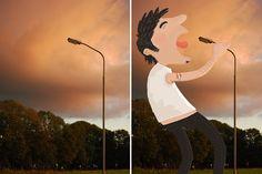 Tineke Meirink crea personajes caricaturescos en todo tipo de lugares.