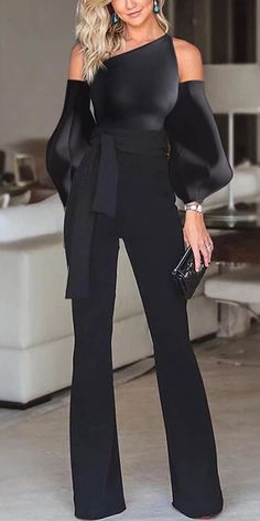 Black Jumpsuit - Black Jumpsuit Solid color off-the-shoulder puff sleeves jumpsuit, long sleeves design and short - Jumpsuit With Sleeves, Black Jumpsuit, Elegant Jumpsuit, Short Jumpsuit, Classy Outfits, Chic Outfits, Trendy Outfits, Girl Outfits, Look Fashion