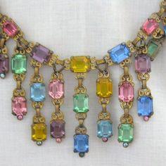 Multi Color Czech Glass Bib Necklace