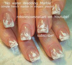No Water Needed - DIY WHITE Marble nail art Tutorial