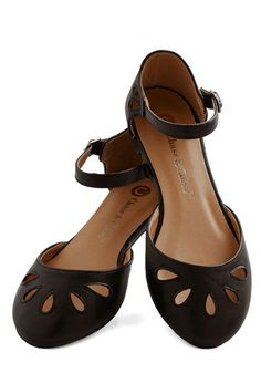 Petite Petals Flat in Black - Flat, Faux Leather, Black, Solid, Cutout, Casual, Variation
