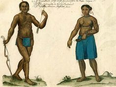 This illustration shows the Yuchi Indians of Georgia with popular adornments and accessories including: a) ring and pearl worn by some in the nose, b) corals, c) arrows and lines burned into the chest, and d) ladle made from a buffalo horn.