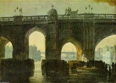 'Old London Brige', wasserfarbe von William Turner (1789-1862, United Kingdom)
