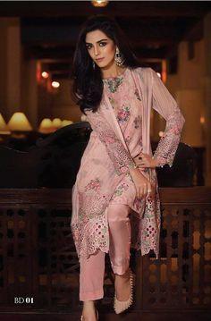 Pakistanais Shalwar Kameez-Light Pink Maria B réplique cousu