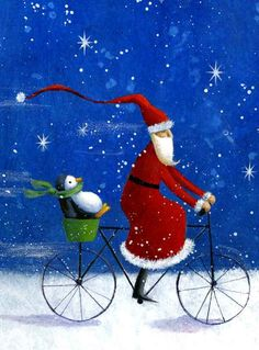 English Garden Santa and a penguin on a bicycle art .- English garden Santa and a penguin on a bike art Christmas illustration – Joulupukki Whimsical Christmas, Noel Christmas, Father Christmas, Vintage Christmas Cards, Christmas Pictures, Winter Christmas, Christmas Crafts, Christmas Decorations, Christmas Animals