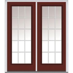 Milliken Millwork 62 in. x 81.75 in. Classic Clear Glass GBG Full Lite Painted Fiberglass Smooth Exterior Double Door, Red