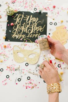 Confetti Kate Spade New Years Party.  Black and White with a pop of gold and silver.