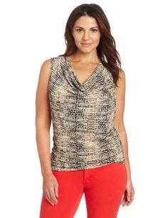 21f8110d431 Amazon.com  Calvin Klein Women s Plus-Size Print Cowl Neck Top  Clothing