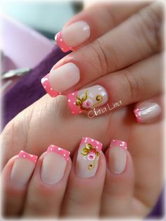 Perfect Colorful Floral Nail Design – 3 It's your turn to have great nails! Check out this year's most … Great Nails, Cute Nails, My Nails, French Nail Art, French Tip Nails, Fingernails Painted, One Stroke Nails, Flower Nails, Cool Nail Designs